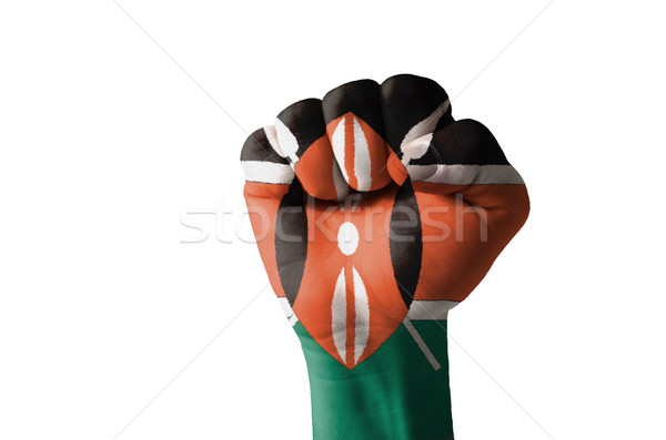 Fist painted in colors of kenya flag Stock photo © vepar5
