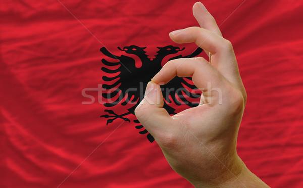 Gesto Albânia bandeira homem Foto stock © vepar5