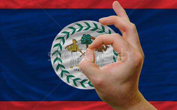 Ok kézmozdulat Belize zászló férfi mutat Stock fotó © vepar5