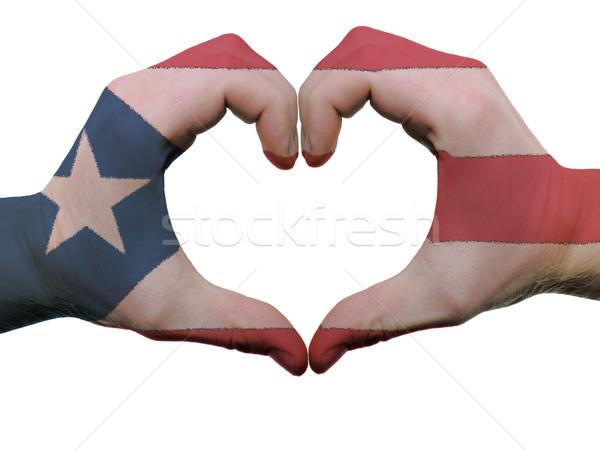 Hart liefde gebaar Puerto Rico vlag kleuren Stockfoto © vepar5