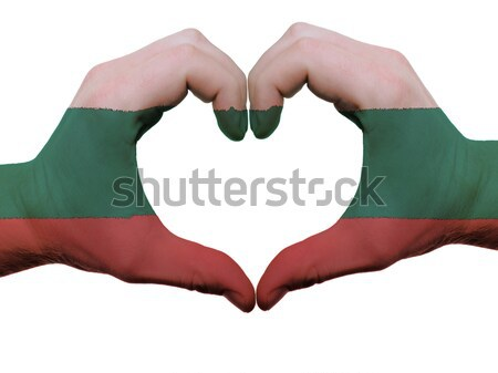 Heart and love gesture showed by hands over flag of hungary back Stock photo © vepar5