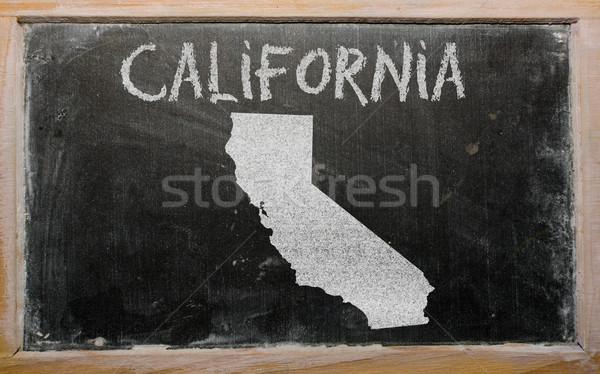 Foto stock: Mapa · Califórnia · lousa · desenho · americano