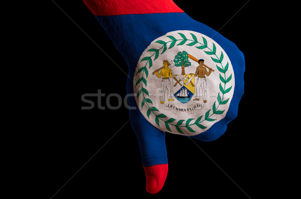 belize national flag thumb down gesture for failure made with ha Stock photo © vepar5