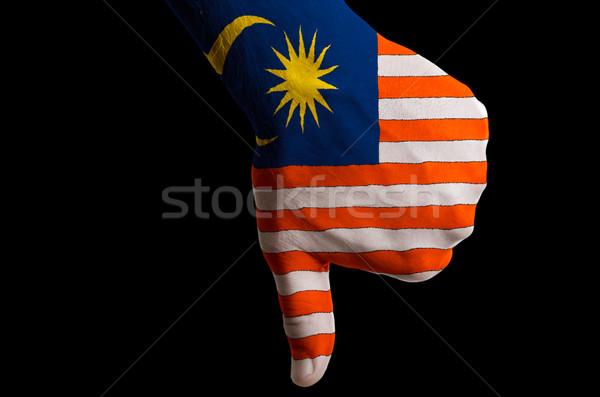 Malajzia zászló hüvelykujjak lefelé kézmozdulat kudarc Stock fotó © vepar5