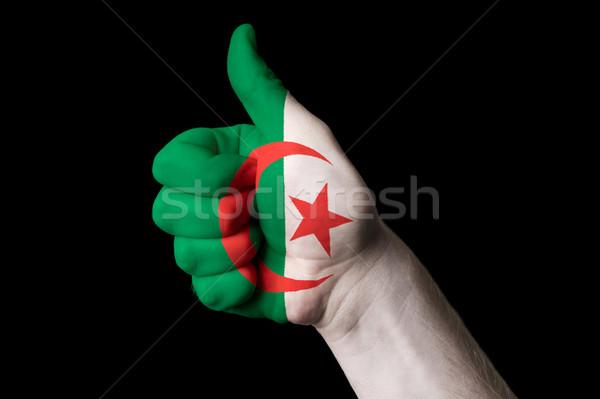 Cezayir bayrak başparmak yukarı jest mükemmellik Stok fotoğraf © vepar5