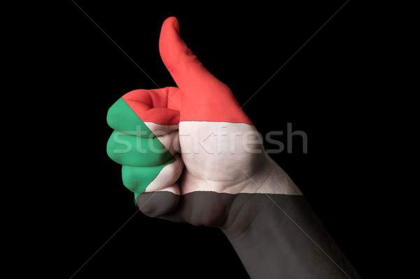 sudan national flag thumb up gesture for excellence and achievem Stock photo © vepar5