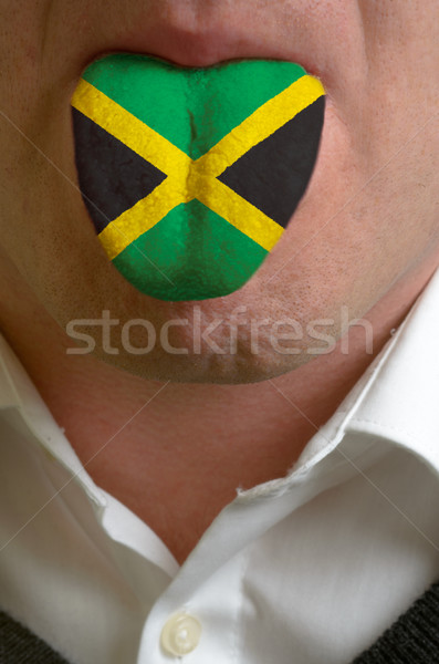 man tongue painted in jamaica flag symbolizing to knowledge to s Stock photo © vepar5