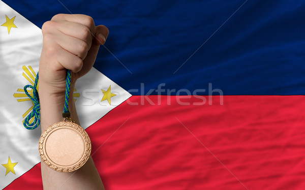 Bronze medal for sport and  national flag of philippines    Stock photo © vepar5