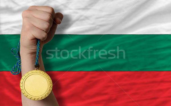 Złoty medal sportu banderą Bułgaria zwycięzca Zdjęcia stock © vepar5