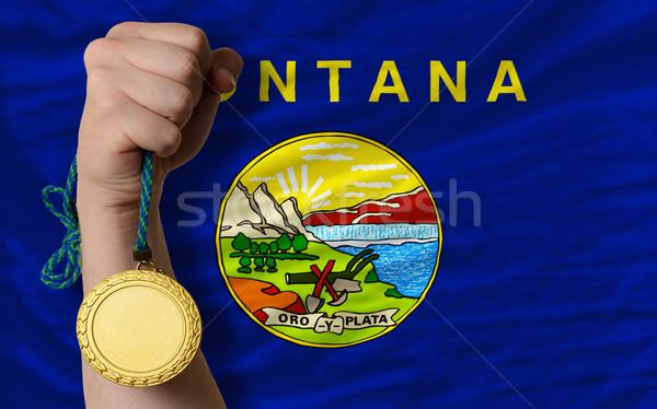 Altın madalya spor bayrak amerikan Montana kazanan Stok fotoğraf © vepar5