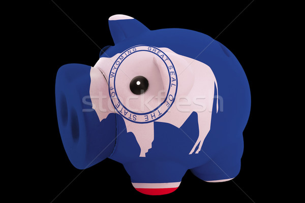 piggy rich bank in colors flag of american state of wyoming   fo Stock photo © vepar5