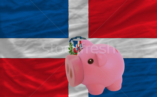 piggy rich bank and  national flag of dominican    Stock photo © vepar5