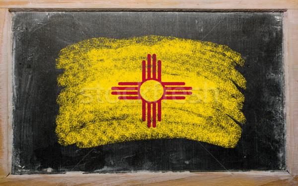 Bayrak New Mexico tahta boyalı tebeşir amerikan Stok fotoğraf © vepar5