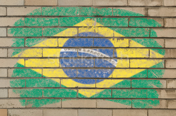 Сток-фото: флаг · Бразилия · Гранж · кирпичная · стена · окрашенный · мелом