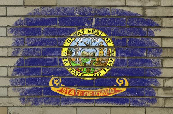Grunge bayrak Idaho tuğla duvar boyalı amerikan Stok fotoğraf © vepar5