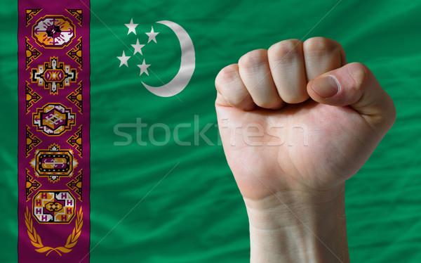 ököl Türkmenisztán zászló erő teljes egész Stock fotó © vepar5