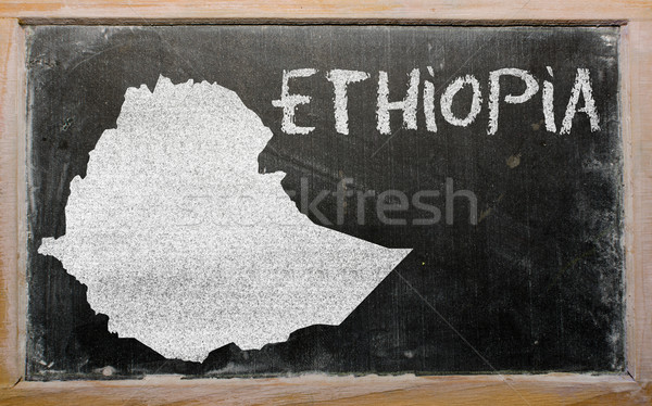outline map of ethiopia on blackboard  Stock photo © vepar5