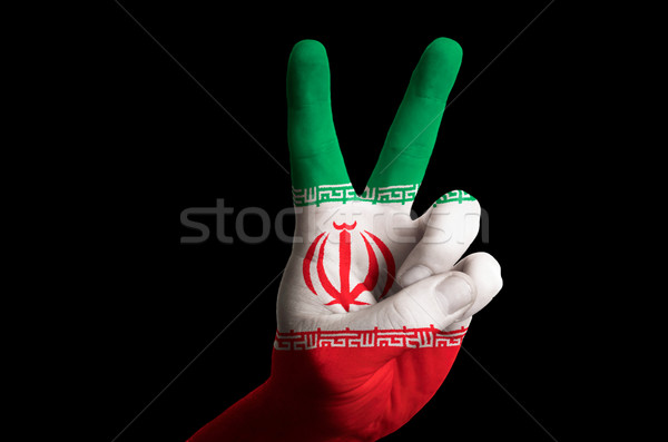 iran national flag two finger up gesture for victory and winner  Stock photo © vepar5