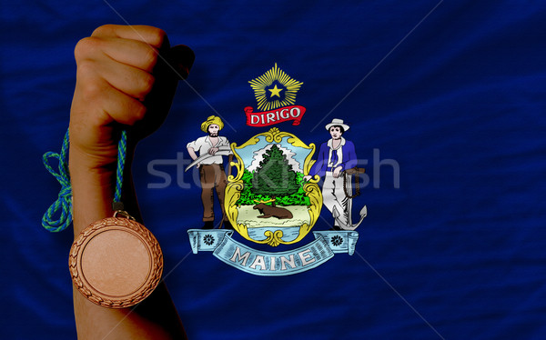 Bronze medal for sport and  flag of american state of maine    Stock photo © vepar5