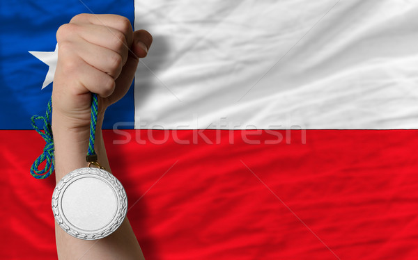 Silver medal for sport and  national flag of chile    Stock photo © vepar5