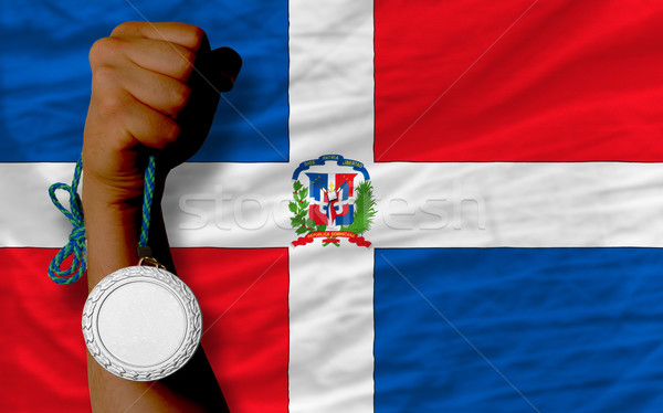 Silver medal for sport and  national flag of dominican    Stock photo © vepar5
