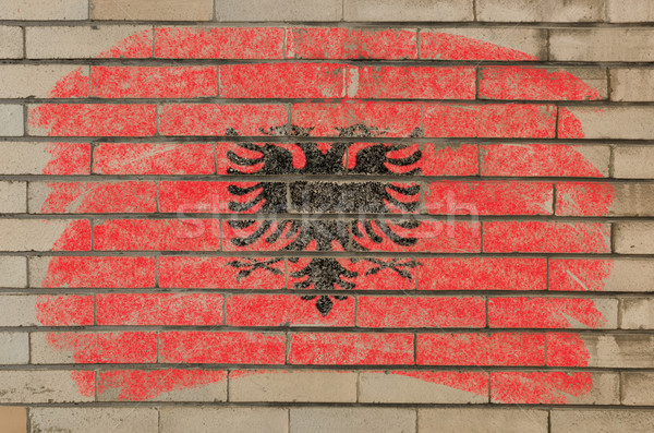 flag of albania on grunge brick wall painted with chalk   Stock photo © vepar5