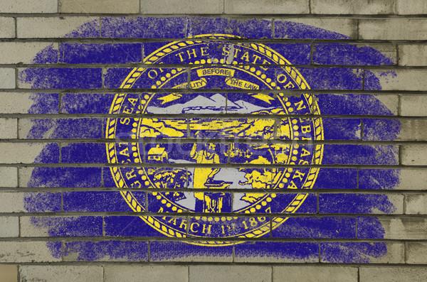 Stok fotoğraf: Grunge · bayrak · Nebraska · tuğla · duvar · boyalı · amerikan