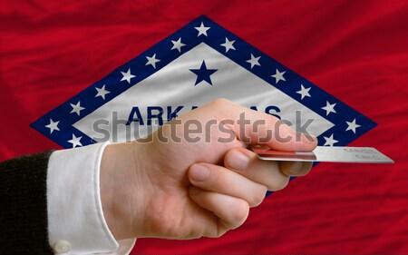 Amerikai zászló Arkansas kettő üzletemberek kéz Stock fotó © vepar5