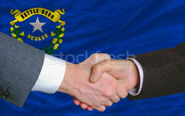 Amerikan bayrak Nevada iki işadamları el sıkışmak Stok fotoğraf © vepar5