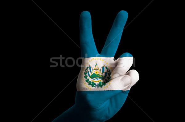 El Salvador bandeira dois dedo para cima gesto Foto stock © vepar5
