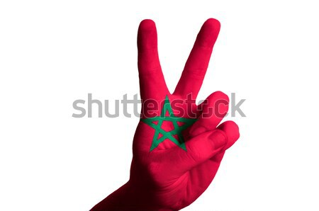 bahrain national flag two finger up gesture for victory and winn Stock photo © vepar5