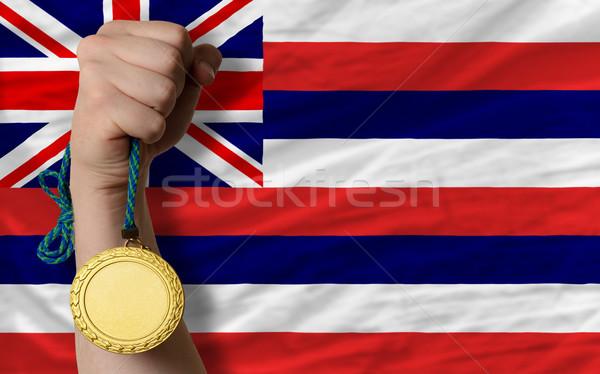 Medaglia d'oro sport bandiera americano Hawaii vincitore Foto d'archivio © vepar5