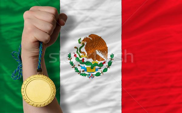Aranyérem sport zászló Mexikó nyertes tart Stock fotó © vepar5