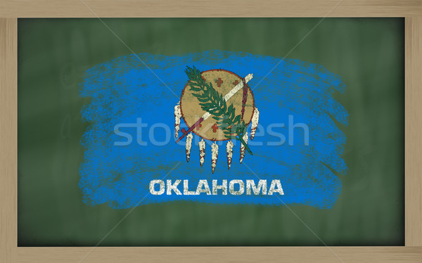 Vlag Oklahoma Blackboard geschilderd krijt amerikaanse Stockfoto © vepar5