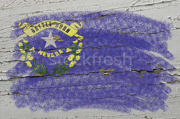 flag of US state of nevada on grunge wooden texture precise pain Stock photo © vepar5