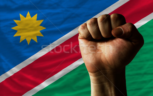 Hard fist in front of namibia flag symbolizing power Stock photo © vepar5
