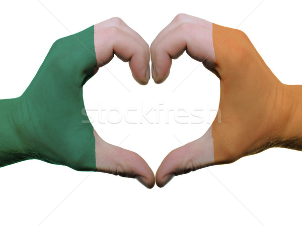 Heart and love gesture in ireland flag colors by hands isolated  Stock photo © vepar5