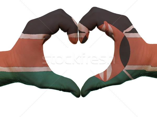 Szív szeretet kézmozdulat Kenya zászló színek Stock fotó © vepar5