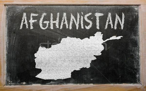 Gliederung Karte Afghanistan Tafel Zeichnung gezeichnet Stock foto © vepar5