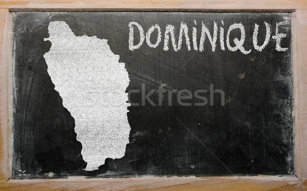 Schets kaart Dominica Blackboard tekening Stockfoto © vepar5