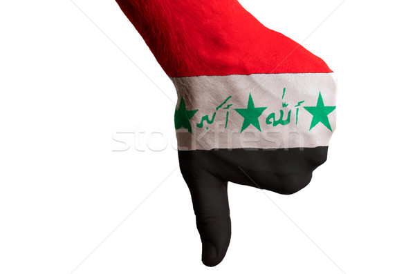 iraq national flag thumbs down gesture for failure made with han Stock photo © vepar5
