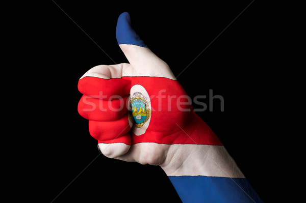 costarica national flag thumb up gesture for excellence and achi Stock photo © vepar5