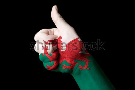 wales national flag thumb up gesture for excellence and achievem Stock photo © vepar5