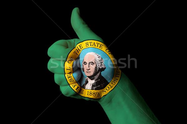 Washington zászló hüvelykujj felfelé kézmozdulat kiválóság Stock fotó © vepar5