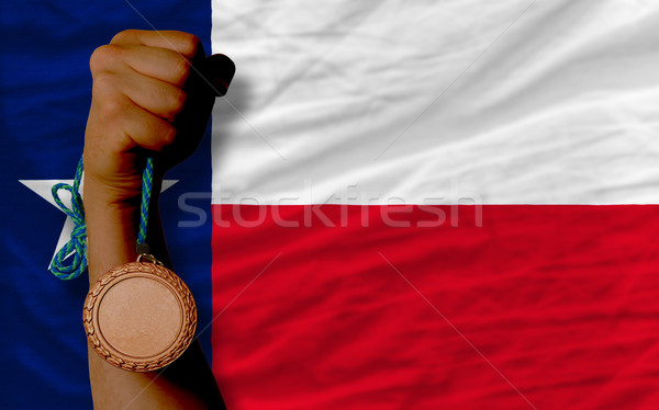 Bronze medal for sport and  flag of american state of texas    Stock photo © vepar5