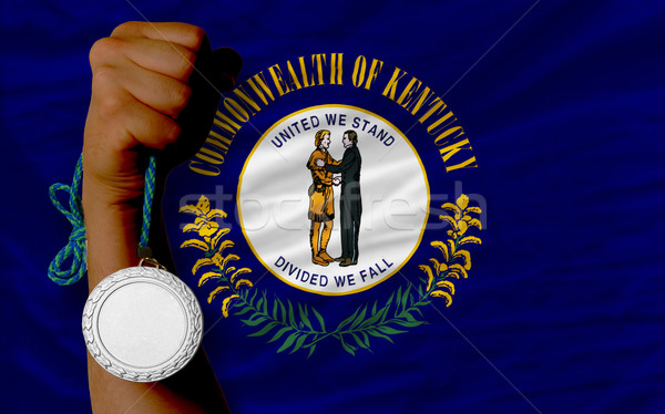 Stock photo: Silver medal for sport and  flag of american state of kentucky