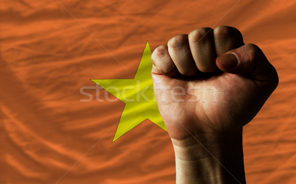 Hard fist in front of vietnam flag symbolizing power Stock photo © vepar5