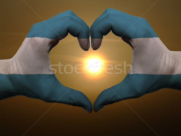 Heart and love gesture by hands colored in el salvador flag duri Stock photo © vepar5