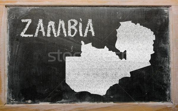 Harita Zambiya tahta çizim Stok fotoğraf © vepar5