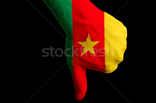 cameroon national flag thumbs down gesture for failure made with Stock photo © vepar5